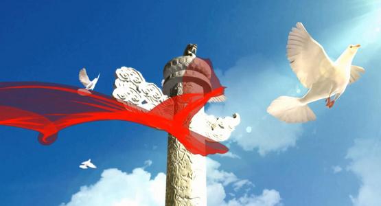 阳光和平鸽花海 歌唱祖国 党政歌曲 背景视频229秒视频