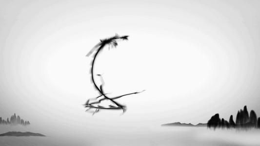 中国风古风水墨山水龙腾飞舞模板15秒视频