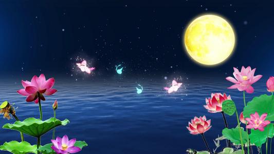 明月水面莲花背景视频60秒视频