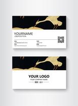 黑色高端大气白鹤商务名片设计图片