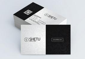黑白拼色花纹名片设计图片