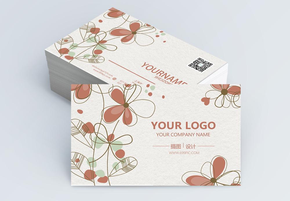 红色手绘花朵名片设计图片