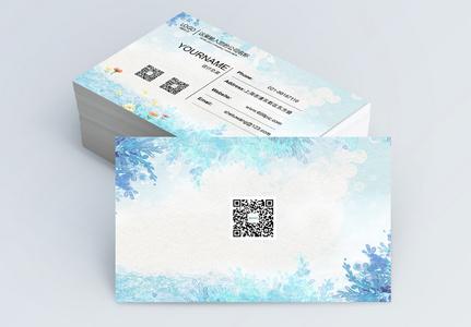 蓝色清新花丛名片设计图片