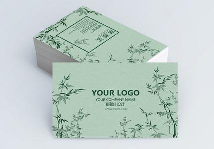 绿色中国风竹子名片设计图片