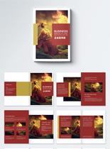 女子舞蹈红色大气高端企业宣传册设计模板图片