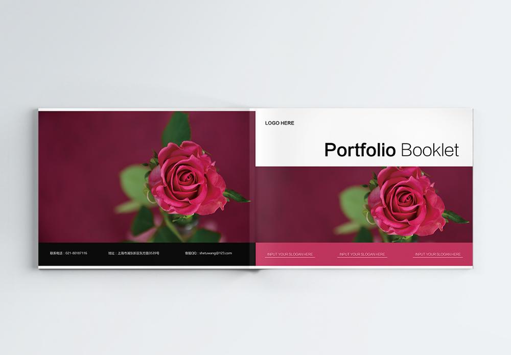 玫瑰花风格企业宣传画册图片