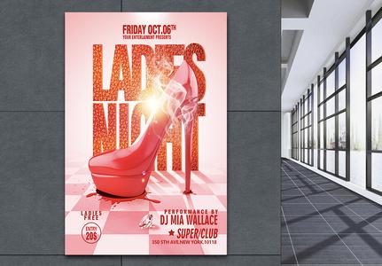 红色高跟鞋时尚促销海报图片