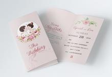 婚礼请柬邀请函二折页图片