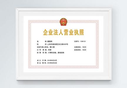 计算机领域营业执照证书图片