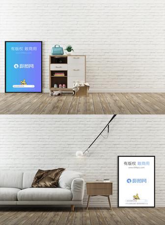 白色墙面背景装饰画样机