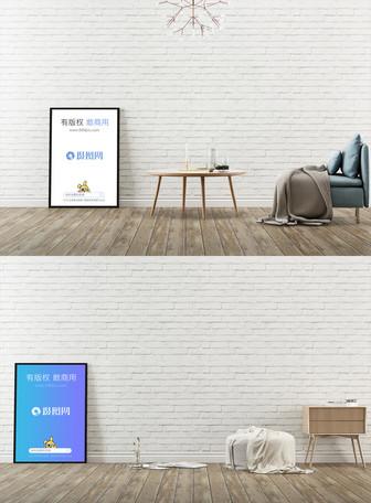 乳白墙面装饰画样机