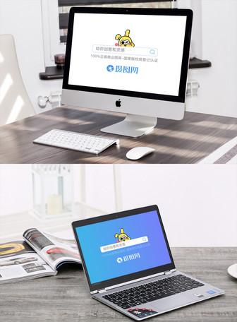 办工桌Mac电脑样机场景