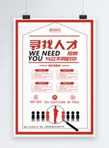 简约红色寻找人才招聘海报图片