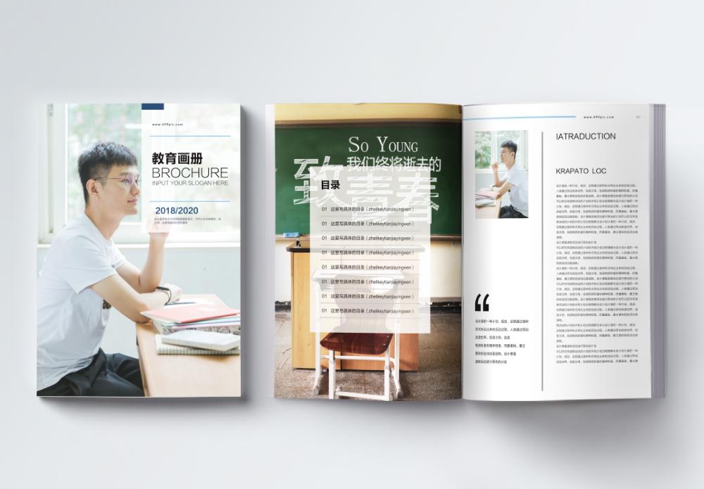 简约清新教育画册整套图片