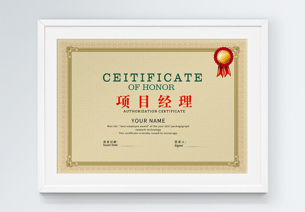 米色优秀项目经理证书图片
