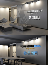 企业logo形象墙样机图片