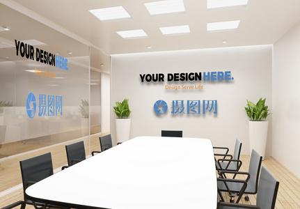 公司logo形象墙样机图片