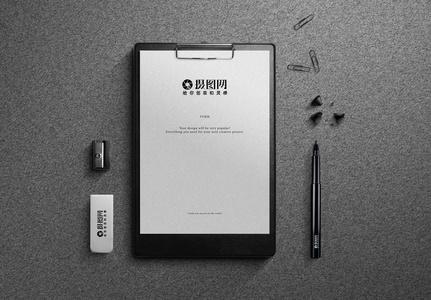 灰色系商务文件夹VI样机图片