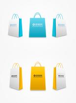 彩色购物袋包装样机图片