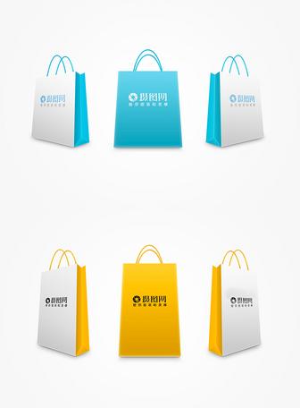 彩色购物袋包装样机