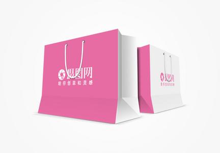 粉色大购物袋包装样机图片