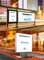 夜景车站广告样机素材图片