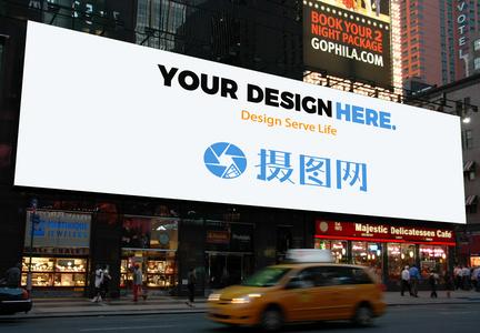 夜景广告牌样机图片