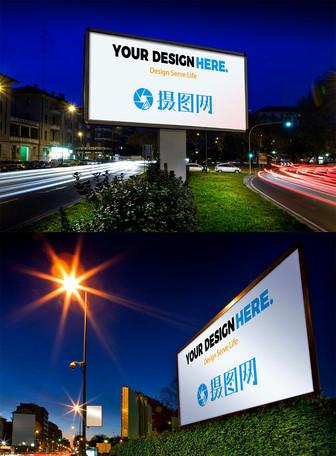 夜景广场广告牌样机