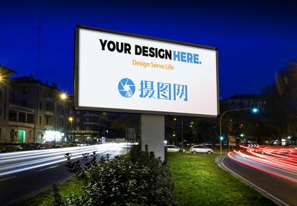 夜景广场广告牌样机图片