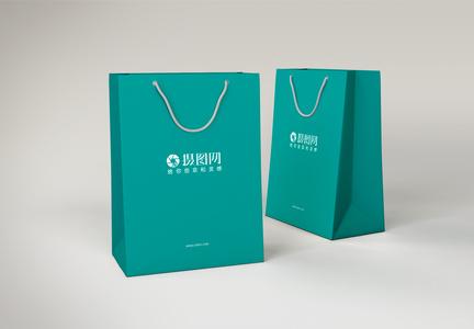 清新绿色手提袋展示样机图片