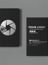 黑色时尚简约商务名片VI样机图片