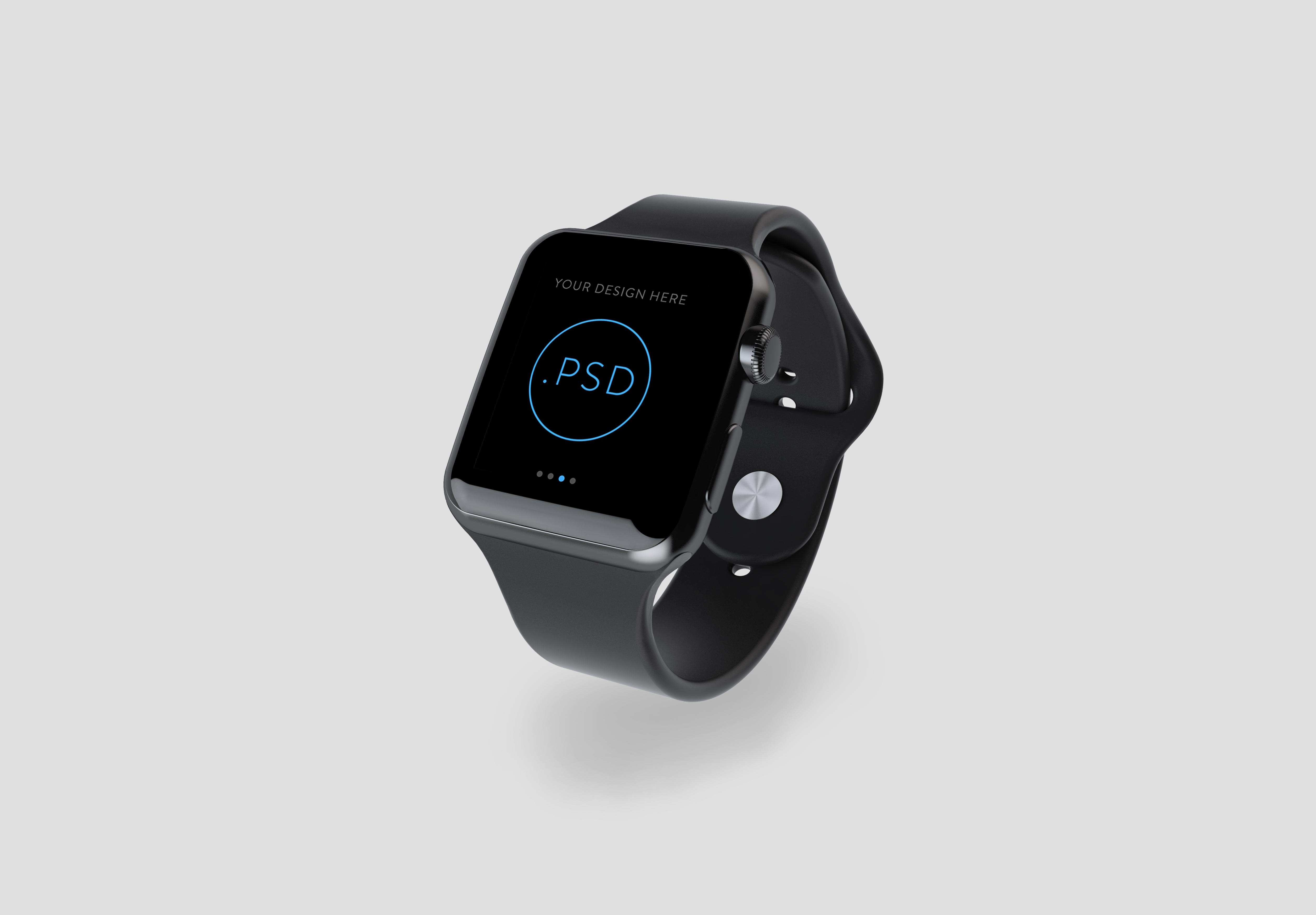 黑色苹果手表样机图片
