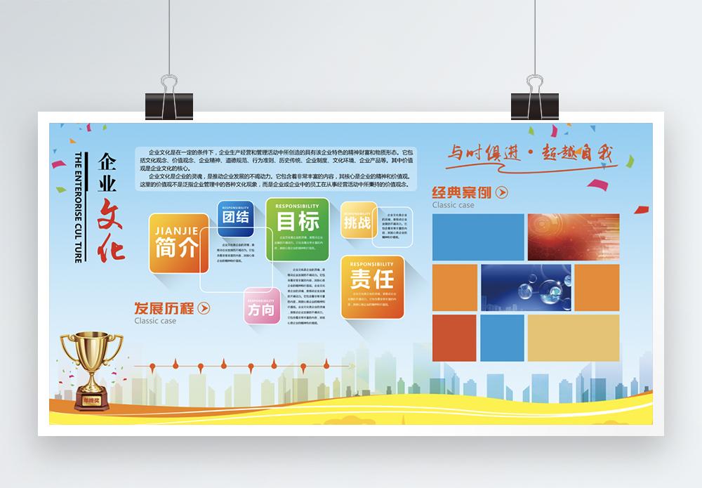 金牌企业文化介绍照片墙展板图片