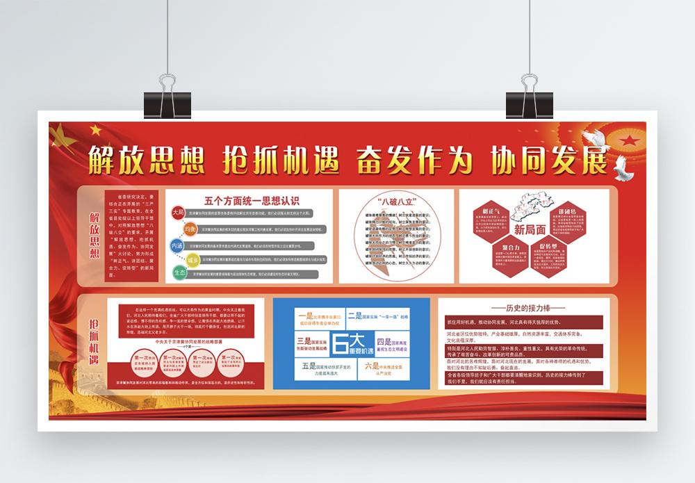 解放思想抢抓机遇企业文化墙展板图片
