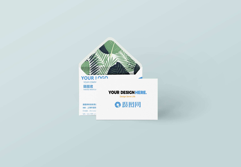 信封时尚简约商务名片VI样机图片