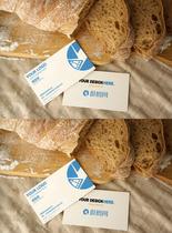 面包场景简约商务名片VI样机图片