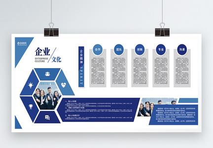 蓝色几何企文化企业精神展板图片