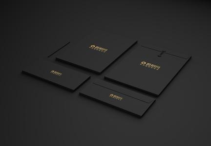 经典黑色烫金品牌样机展示图片
