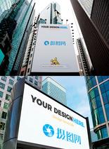 企业户外广告牌样机图片