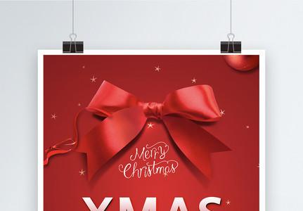 红色大气蝴蝶结圣诞节海报图片