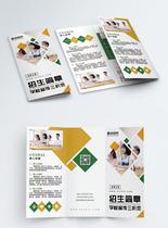 黄色绿色简约几何学校招生简章宣传三折页图片