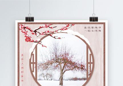 红色中国风踏雪寻梅梅花展海报图片