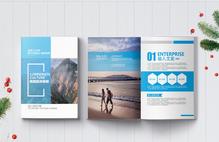 蓝色简约旅游宣传画册整套图片