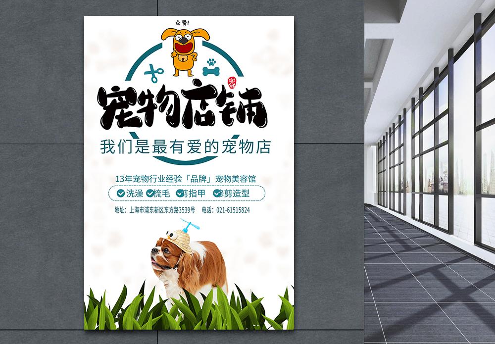 宠物美容馆宣传海报图片