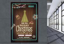 霓虹圣诞节荧光促销海报图片