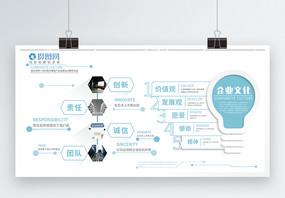 清新简约企业文化发展展板图片