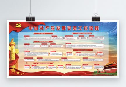 中国共产党发展党员工作流程图展板图片