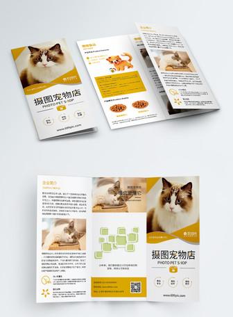 橙色新鲜宠物店宣扬三折页