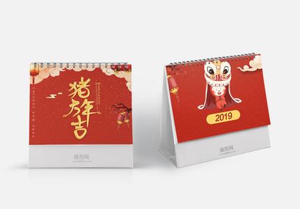 2019红色喜庆猪年台历图片