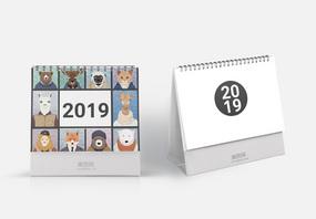 2019卡通动物形象台历图片